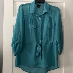 Dark teal - flowy blouse w/ waist tie- size Large